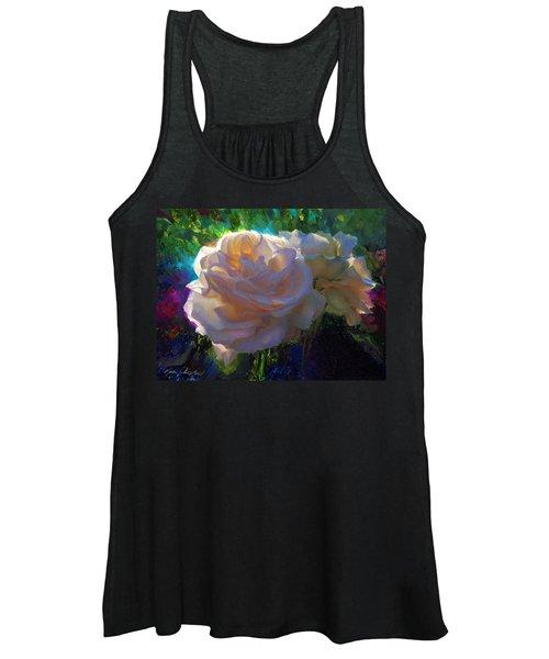 White Roses In The Garden - Backlit Flowers - Summer Rose Women's Tank Top