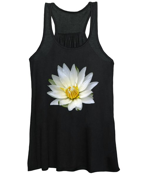 White Waterlily With Dewdrops Women's Tank Top