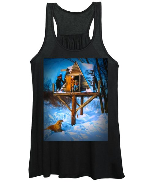 Winter Scene Three Kids And Dog Playing In A Treehouse Women's Tank Top