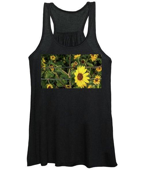 Yellow Flower Escaping From A Barb Wire Fence Women's Tank Top