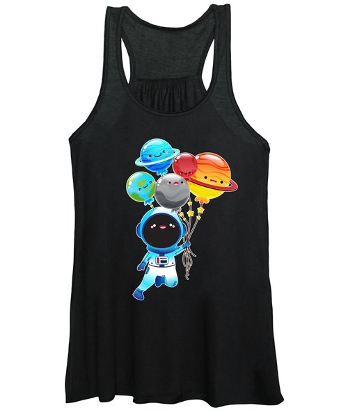 Astronaut With Planet Balloons Outta Space Women's Tank Top