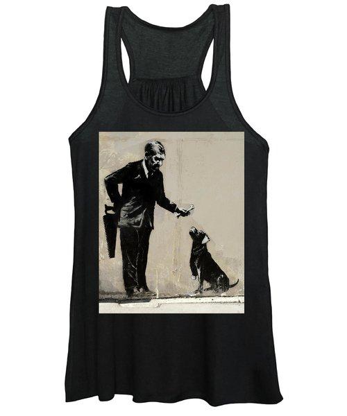 Banksy Paris Man With Bone And Dog Women's Tank Top