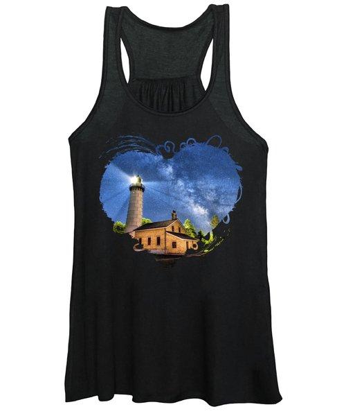 Cana Island Lighthouse Milky Way In Door County Wisconsin Women's Tank Top