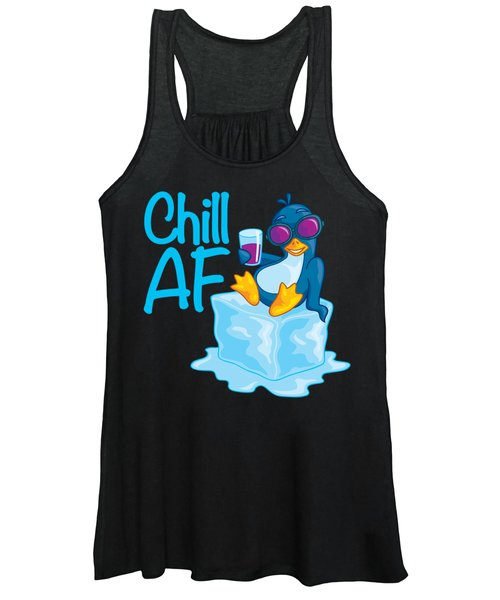 Chill Af Penguin On Ice Women's Tank Top
