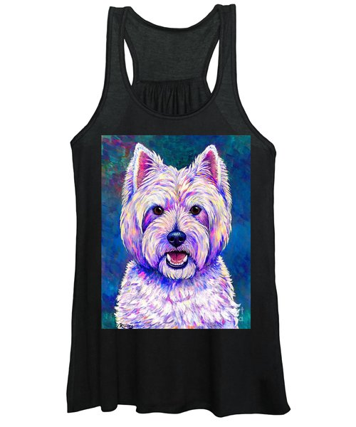 Colorful West Highland White Terrier Blue Background Women's Tank Top