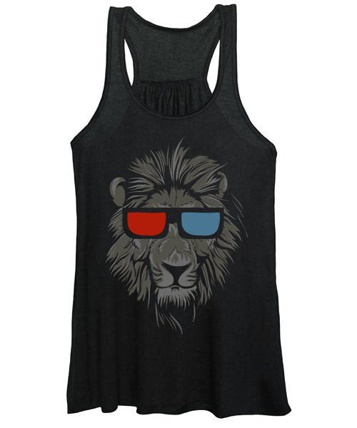 Cool Lion With Glasses Women's Tank Top