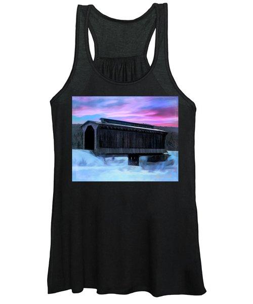 Fisher Raiilroad Covered Bridge Wolcott Vermont. Women's Tank Top