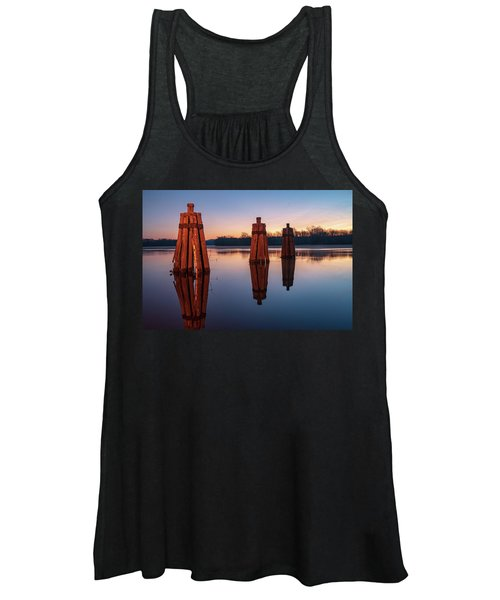 Group Of Three Docking Piles On Connecticut River Women's Tank Top