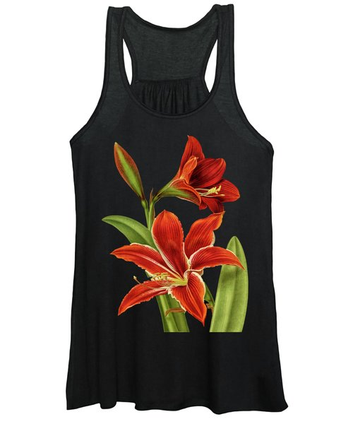 Red Christmas Lily Women's Tank Top