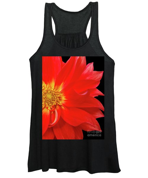 Red Dahlia On Black Background Women's Tank Top