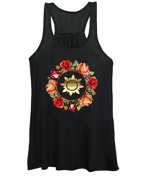 Ring Wreath Of Red Roses And Gold Crest Women's Tank Top