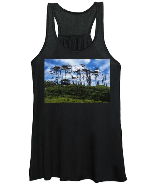 Silhouettes Of Wind Sculpted Krumholz Trees  Women's Tank Top