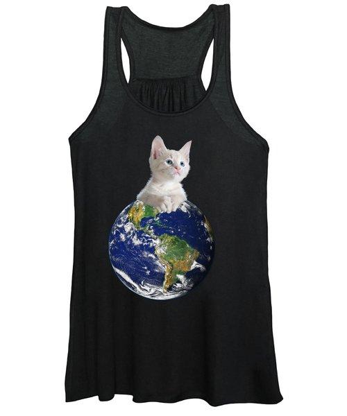 Space Kitten Ruler Of Earth Funny Women's Tank Top