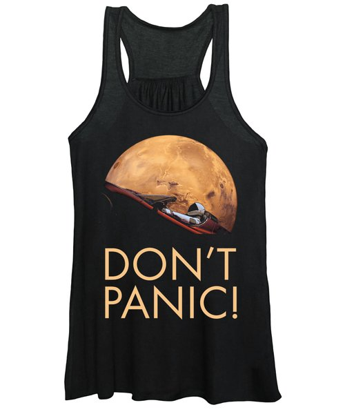 Starman Don't Panic In Orbit Around Mars Women's Tank Top