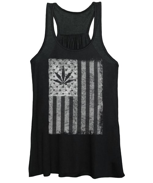 Weed Leaf American Flag Us Women's Tank Top
