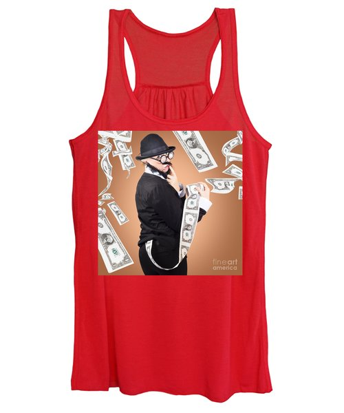 Corrupt Business Man Money Laundering Us Dollars Women's Tank Top