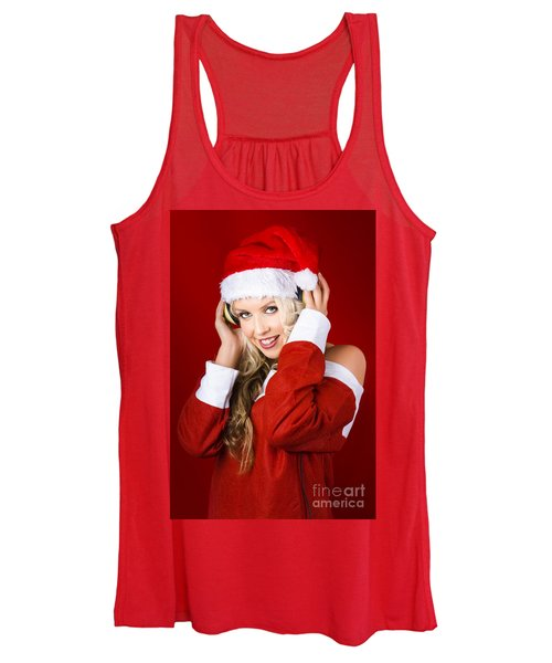 Happy Dj Christmas Girl Listening To Xmas Music Women's Tank Top