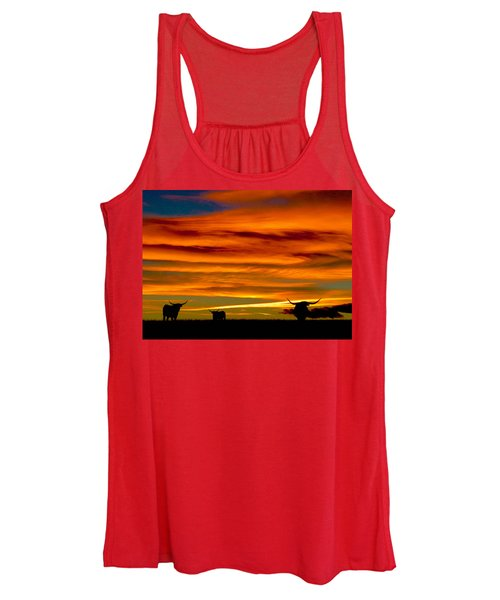 Longhorn Sunset Women's Tank Top