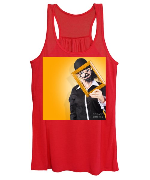 Person Setting Their Social Media Profile Picture Women's Tank Top