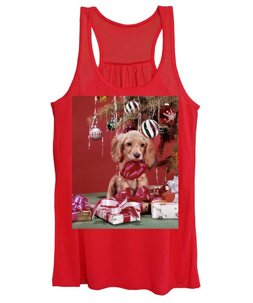 1960s Spaniel Puppy Christmas Present Women's Tank Top