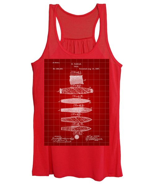 Cigar Patent 1887 - Red Women's Tank Top