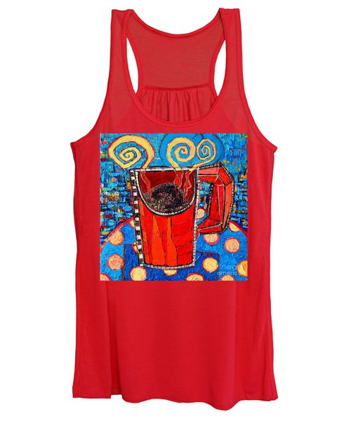 Abstract Hot Coffee In Red Mug Women's Tank Top