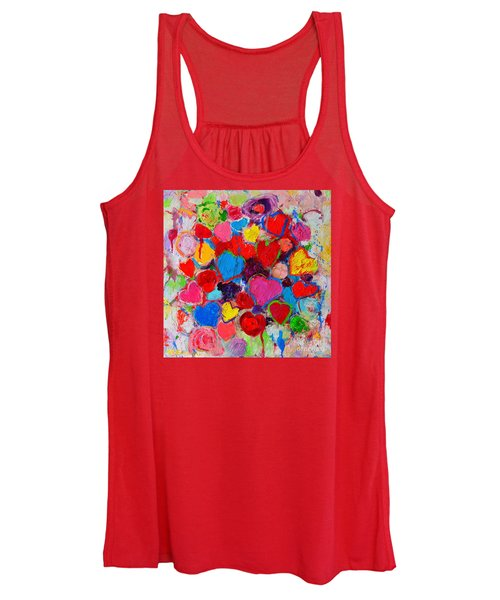 Abstract Love Bouquet Of Colorful Hearts And Flowers Women's Tank Top