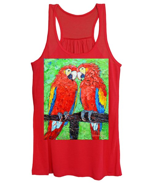 Ara Love A Moment Of Tenderness Between Two Scarlet Macaw Parrots Women's Tank Top