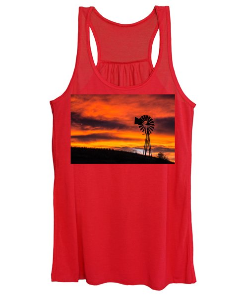 Cobblestone Windmill At Sunset Women's Tank Top