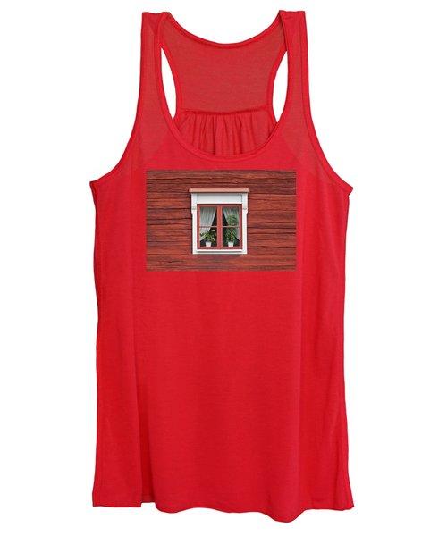 Cute Window On Red Wall Women's Tank Top