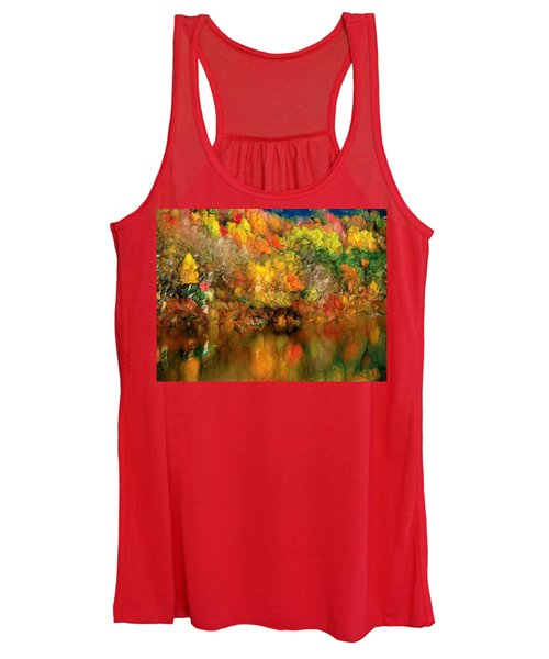 Flaming Autumn Abstract Women's Tank Top