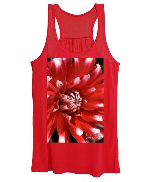 Flower- Dahlia-red-white Women's Tank Top