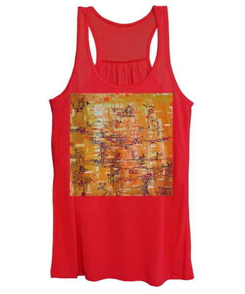 Lattice Animals Abstract Oil Painting By Regina Valluzzi Women's Tank Top
