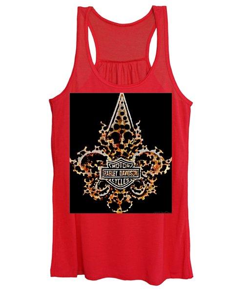 Perforated Fleurs De Lys With Harley Davidson Logo Women's Tank Top