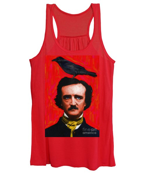 Quoth The Raven Nevermore - Edgar Allan Poe - Painterly - Red - Standard Size Women's Tank Top