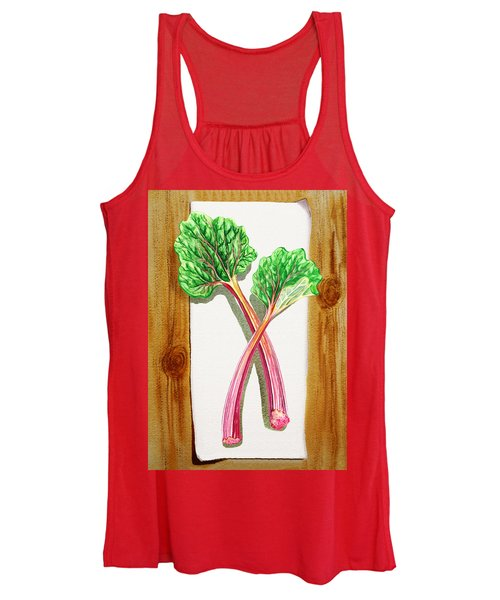 Rhubarb Tasty Botanical Study Women's Tank Top