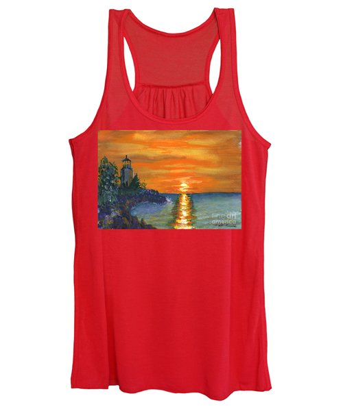 Sunset At The Lighthouse Women's Tank Top