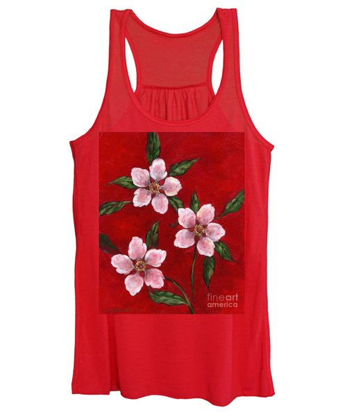Three Blossoms On Red Women's Tank Top