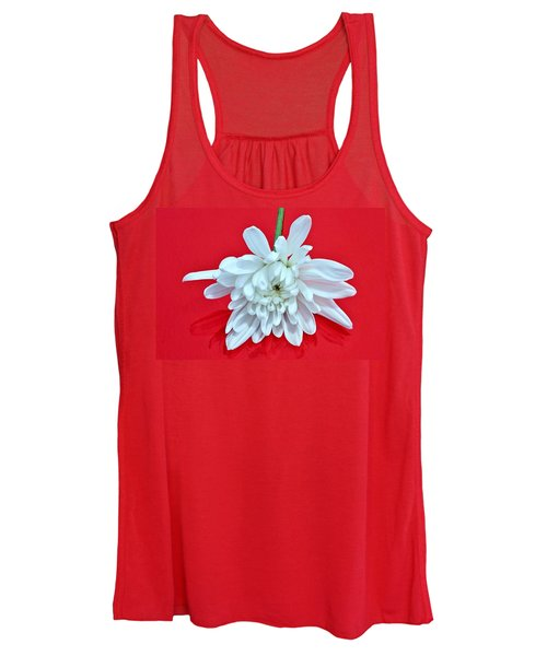 White Flower On Bright Red Background Women's Tank Top