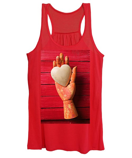 Wooden Hand With White Heart Women's Tank Top