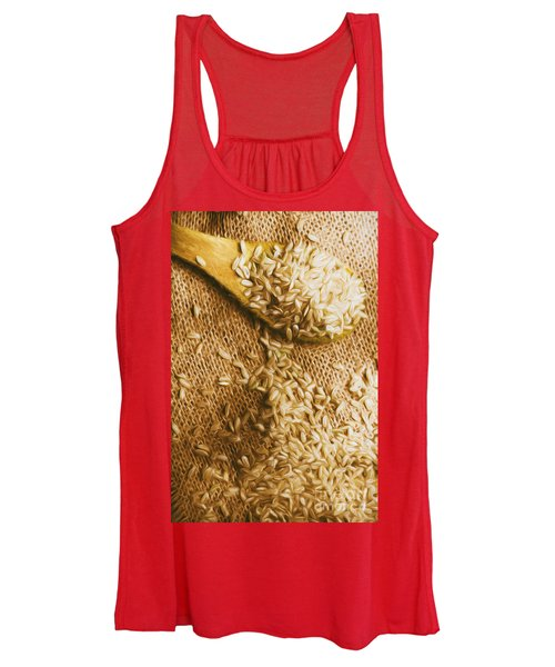 Wooden Tablespoon Serving Of Uncooked Brown Rice Women's Tank Top