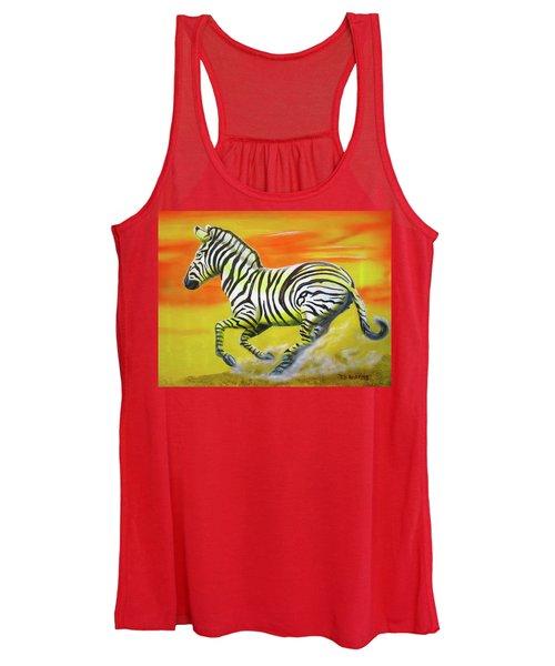 Zebra Kicking Up Dust Women's Tank Top