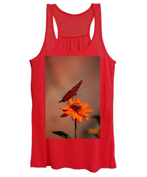 Orange Butterfly Orange Flower Women's Tank Top