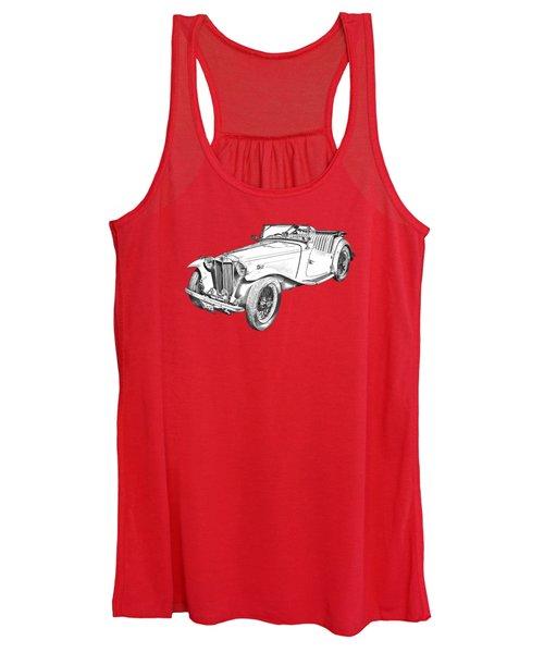 Mg Convertible Antique Car Illustration Women's Tank Top