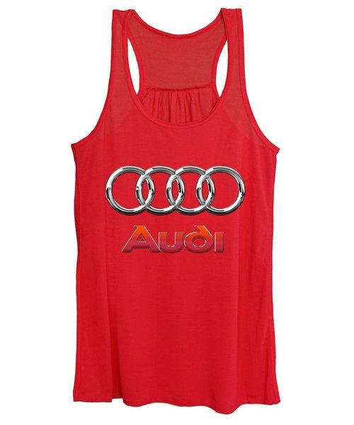 Audi - 3d Badge On Red Women's Tank Top