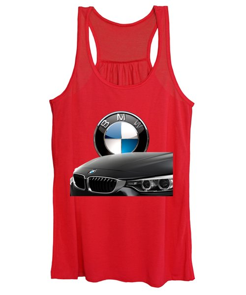 Black B M W - Front Grill Ornament And 3 D Badge On Red Women's Tank Top