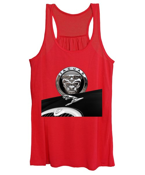Black Jaguar - Hood Ornaments And 3 D Badge On Red Women's Tank Top