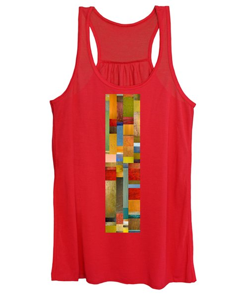 Color Panels With Green Grass Women's Tank Top