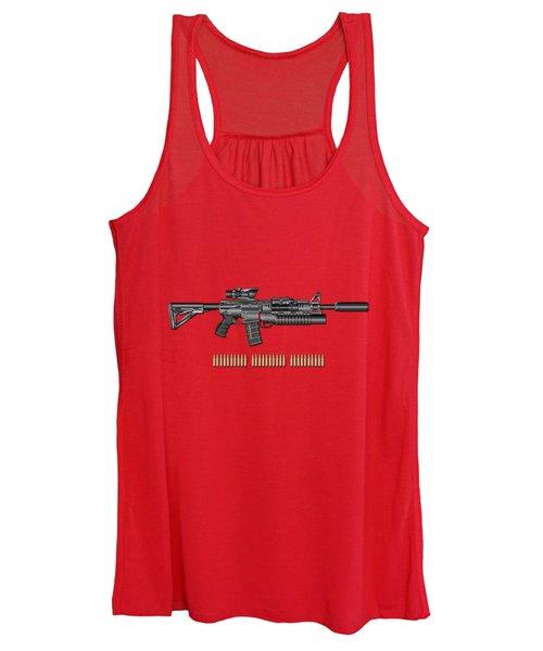 Colt  M 4 A 1  S O P M O D Carbine With 5.56 N A T O Rounds On Red Velvet  Women's Tank Top