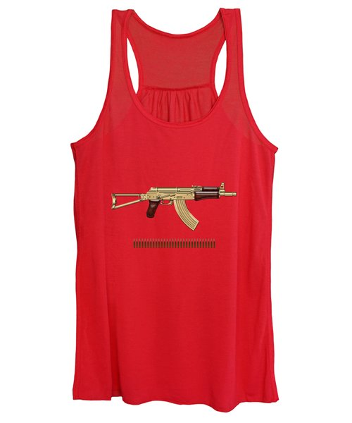 Gold A K S-74 U Assault Rifle With 5.45x39 Rounds Over Red Velvet   Women's Tank Top